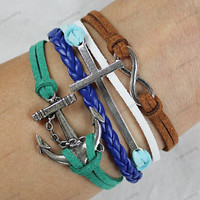 personalized bracelets- silver bracelets cross infinite&anchor bracelet s colorful rope -best birthday gifts 152