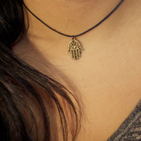 Bronze Gold Hamsa Choker Necklace - 14in Black Waxed Cotton - Brandy Melville