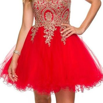 Juliet 762 Red Gold Sweetheart Neckline Poofy Short Prom Dress