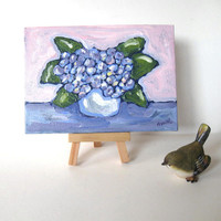 Shabby Still Life Painting, French Cottage Chic, 5 x7, Home Decor, Original, Blue Hydrangeas