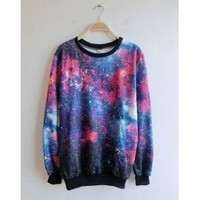 Women's Galaxy Space Starry Print Girl Long Sleeve Top Round T Shirt Red&blue: Sports & Outdoors