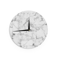 "Kess Original ""White Marble"" Gray White Wall Clock"