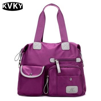KVKY New Women nylon Oxford cloth shoulder bag large canvas handbags European and American Style Crossbody messenger Bag