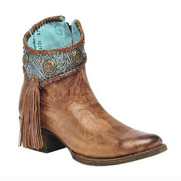 DCCKAB3 Corral Cognac-Turquoise Concho Ankle Boots