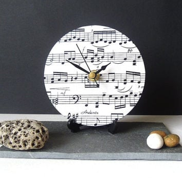 Fabric Desk Clock - Small Wall Clock - Decoupage Fabric Music Sheet Music Notes - Black and Ivory
