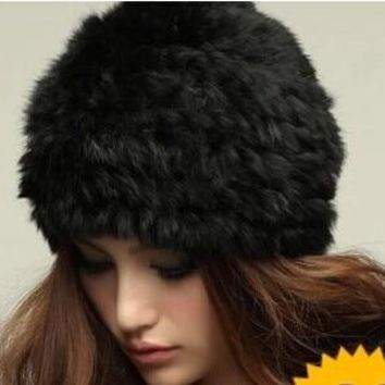 Free Han edition of otter rabbit hair knitted hat scarf female winter fur earmuffs straw hat beret