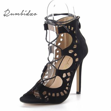 Rumbidzo Women Pumps 2018 Fashion Women Shoes Sandals Lace up High Heels Cut Outs Summer Open Toe Sapato Femininos Plus size 43