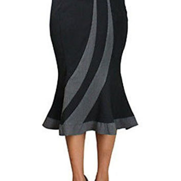 MERMAID Wiggle Pencil Ruffle Skirt FITTED FLAIR