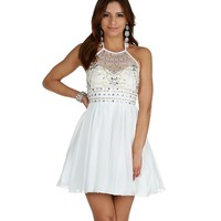 Clover-ivory Beaded Halter Dress