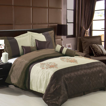 Pacifica Coffee/Beige 7-Piece comforter set