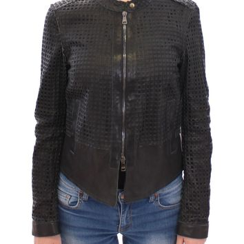 Black Perforated Leather Biker Jacket Coat