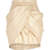 Gold draped tulip mini skirt
