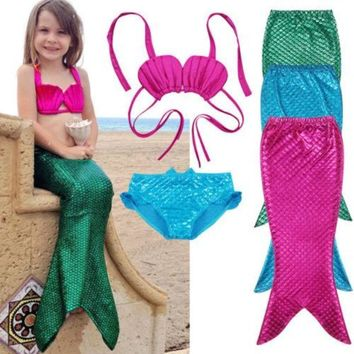 3pcs. Swimmable Mermaid Outfit For Little Girl