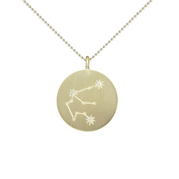 Gold Zodiac Pendant with Diamonds - Aquarius