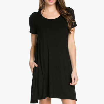 My Space Clothing Women's Side Pocket Knit Jersey Swing Dress - Made in USA
