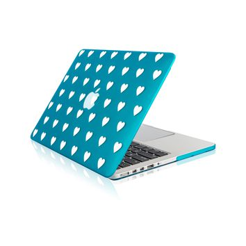 """Aqua Blue Heart Shape Design Ultra Slim Light Weight  Hard Case Cover for Apple MacBook Pro 13.3"""" with Retina Display Model: A1425 and A1502"""