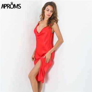 Aproms Fall Spaghetti Strap Deep V Red Dress Elegant High Split Gypsy Loose Beach Party Dresses Women Robe Sexy Sundresses