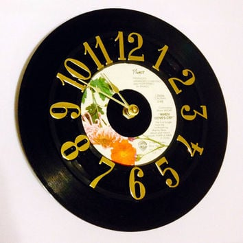 Vinyl Record Clock, Record Clock, Wall Clock, Prince Record, Recycled Record, Upcycle, Battery & Wall Hanger included, Item #50