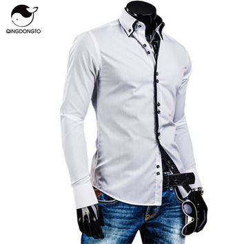 Male Long Sleeve Shirts Casual Solid Multi-Button Hit Color Slim Fit Shirts