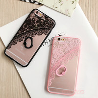 "Newest Fashion Ring Holder Stand Phone Cases For Apple iphone 6S Case For iphone 6 6S Plus 4.7/5.5"" Beautiful Lace Flowers Cover"