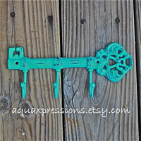 Cast Iron Hook / Laguna Green Metal Key Hook by AquaXpressions