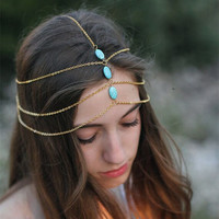 Turquoise head chain Headband Jewelry Women Boho Vintage Hair Accessories 2015 Party Headpiece Hair Band New