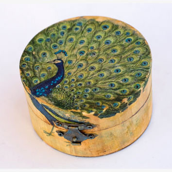 Rustic wedding ring box:  Distressed wooden box with peacock, ring bearer, custom engagement box. peacock ring bearer.