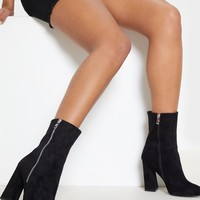 Black Side Zip High Point Ankle Boot