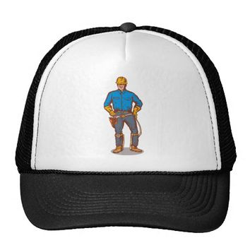 power lineman electrician worker trucker hat