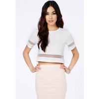 Missguided - Loida Short Sleeve Mesh Panel Crop Top In Cream
