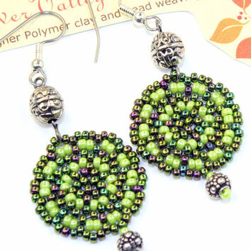 Green bead woven earrings, dangle peyote stitch disc with silver beads, handmade