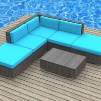 UrbanFurnishing.net 6a-bali-seablue 6 Piece Modern Patio Furniture Sofa Sectional Couch Set