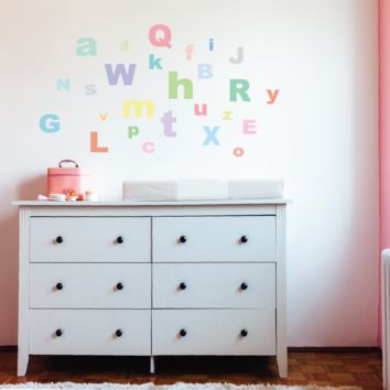 A-Z Pastel Alphabet ABC's Fabric Wall Decals