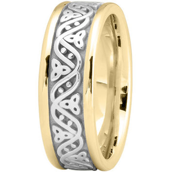 Wedding Band - Celtic Wave Mens Wedding Ring in Two Tone