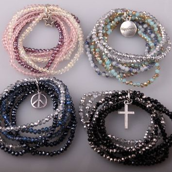 MOODPC Fashion Mix Color 6 Strands Crystal Antique Silver Pendants Stretchy Bracelets Glass Beaded Bracelet & Bangle