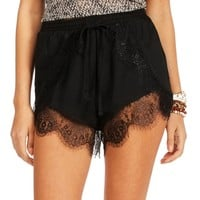 Black Lace Jogger Shorts