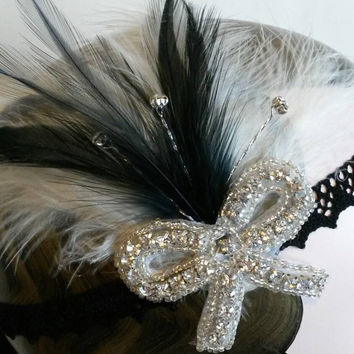 FREE POST, Flapper Headpiece, Vintage Inspired, Bridal Headband, The Great Gatsby,roaring 1920s, 1930s, Party, black and white, dance