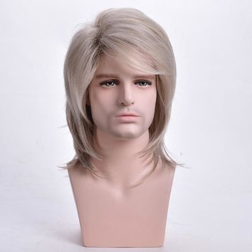 Men Wig Straight Synthetic Wigs Natural Long Light Blonde Mens Cosplay Costume Wig with Bangs Heat Resistant Toupee