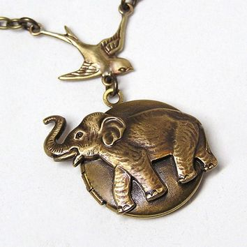 Steampunk Little ELEPHANT LOCKET Necklace Pendant by chinookhugs