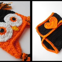 Halloween Baby Owl Hat and Diaper Cover Photo Prop Set