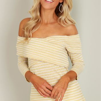 Striped Off Shoulder Top Taupe