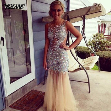 Gorgeous Crystals Little Mermaid Prom Dresses Long Evening Gown Party Dress Boat Neck Champagne Tulle Floor Length
