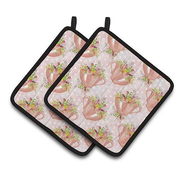 Tea Cup and Flowers Pink Pair of Pot Holders BB7481PTHD