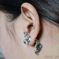 1 pair Silver unicorn earring stud cool AEY girls lady party fashion jewelry