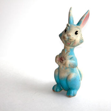 1955 Vintage Rubber Rabbit Squeaky Toy, Baby's Squeak toy, Pink and Blue Rabbit, Easter Rabbit,