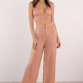 By Your Side Wide Leg Satin Pants