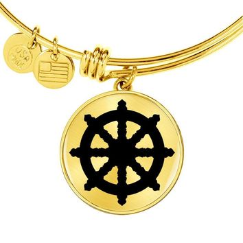 Dharma Wheel - 18k Gold Finished Bangle Bracelet