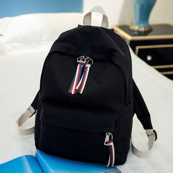 School Backpack trendy DCIMOR New Women Backpack Solid Color Canvas  for Teenage Girl Mochila Feminina Casual Portable Backpaks Book bag AT_54_4
