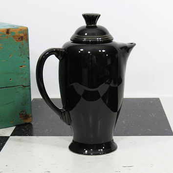 Fiesta Ware Black Coffee Pot Post 1986 . Collectible Discontinued Retired . Vintage Fiestaware Fiesta Homer Laughlin Coffeepot