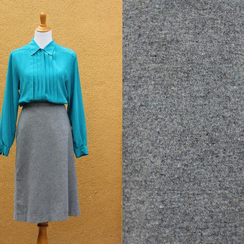 Vtg Lightweight wool skirt  High waist grey unlined gray midi long heather size 8
